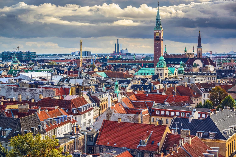 Copenhagen, Denmark old city skyline.